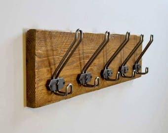 Reclaimed Wood Cast Iron Loop Hook Plaque