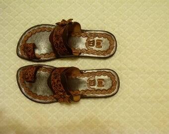 handmade leather peep toe sandal with flower