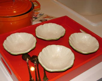 Vintage Holland Mold Cabbage Soup Bowls Rare Glazing Pattern Green Outside White Inside Qty 4