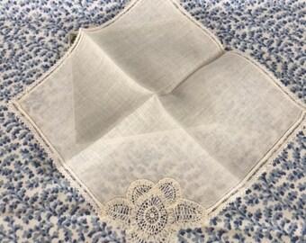Antique Bridal Hanky Linen and Lace Handkerchief
