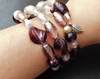 Purple and White Wrap-Around Bracelet