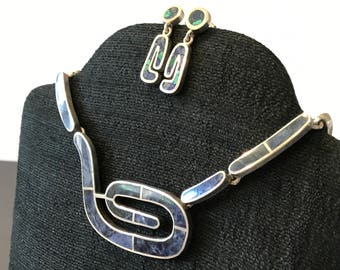 Vintage, Mexican Sterling, Modernist necklace, sodalite inlay, Taxco.