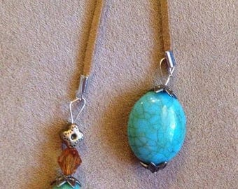 Turquoise and Tan Lariat style necklace