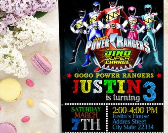 Power Ranger Invitation-Power Ranger Birthday-Power Ranger Party-Power Ranger Birthday Invitation-Power Ranger Birthday Party-Ranger Card