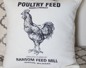Poultry Feed Flour Sack Pillow Cover