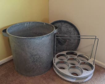 Vintage 27 quart Galvanized Canner Steamer  Water Bath Cooker With Insert Antique Canning Pot