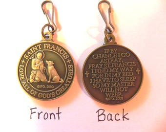 Saint St FRANCIS DOG TAG cat pet medal with prayer new High Quality bronze tone