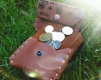 Leather coin purse pouch wallet