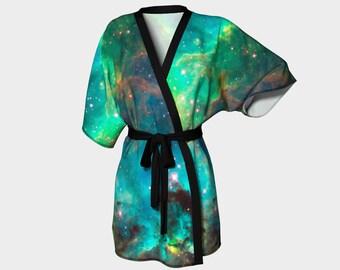 Star Cluster Kimono Robe, Cosmic, Nebula, Dressing Gown, Bridesmaid Robe, Coverup, Spa Robe, Swimsuit Coverup, Robe, Knit, Chiffon Kimono,