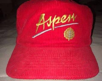 Retro Red Corduroy Zipper Back hat