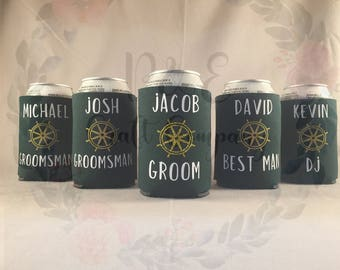 Custom Can Coolers // Personalized Beer Sleeves -- Groomsmen Gifts -- Father's Day Gifts -- Wedding Favors