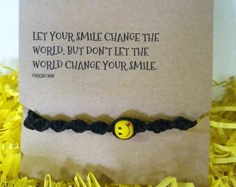 Inspirational Smile Card With Emoticon Bracelet
