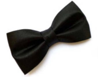 Black Satin Bow tie w/ clip-on as attachment for kids boy toddler or baby Sizes NB - 7 Yrs