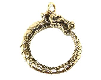 Large Viking Pendant - Bronze Ouroboros or Uroboros Dragon Eating Tail