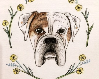 White Boxer dog print