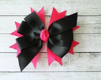 Black/Hot Pink Medium Bow