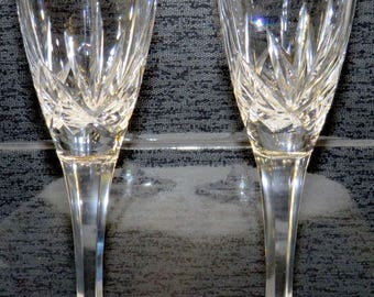 Noritake Crystal-Toasting Champaign Flutes-Gold & Platinum Bands-Champagne Flutes-PERFECT for Weddings - Un-used Condition