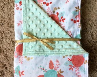 Mint Roses baby/toddler blanket, Mint green pink nursery, Floral baby blanket