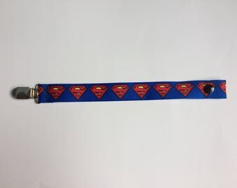 Superman pacifier clip, Superman binky clip, Superman paci clip