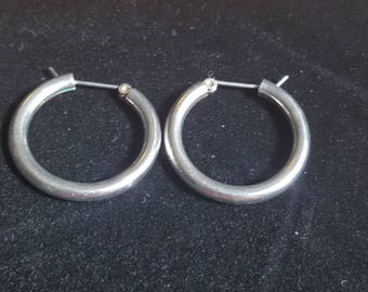 Vintage Sterling Silver Hoop Earrings