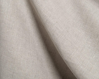 """Flax Linen Fabric by the yard - Gray - Light Weight - Width 60"""" (150 cm) - Made in N. Europe"""