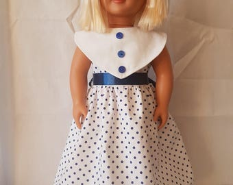 18 inch doll dress Blue and white polka dots