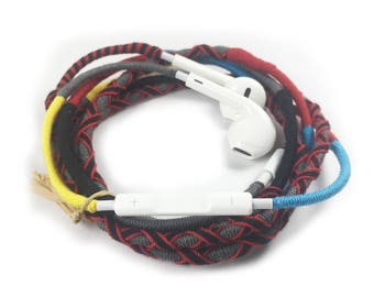Tangle Free earbuds with mic wrapped handmade colorful Earbuds Earphones Earpods Headphones