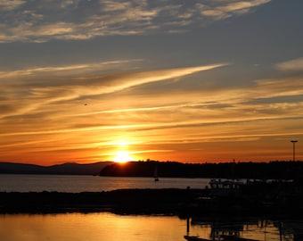 Lake Champlain Sunset with Bird (20x30)