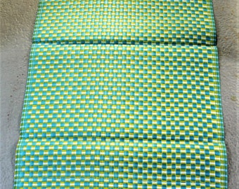 Turquoise, yellow & cream Recycled plastic mat, medium size