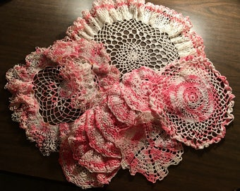 Pink and White Doilies