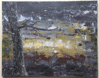 Original acrylic painting, 20 inch wide by 16 inch tall, tree at night time, ready to hang