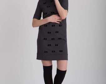 EVi Handmade decorated dark grey dress