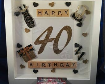 Happy 40th Birthday Scrabble Frame