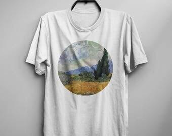 Van Gogh Shirt Cypresses Van Gogh T Shirt Van Gogh Wheatfield T-Shirt Man Tee Art Painting T-Shirt Birthday Gift For Him Men Van Gogh Tshirt