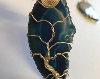 Wire wrapped blue Agate tree of life pendant