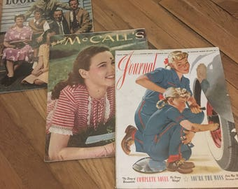 3 Vintage Magazines (Mc Call's 1945, Ladies Home Journal 1943 and Look Magazine 1943)