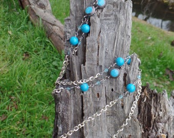 Turquoise Blue Chain Necklace