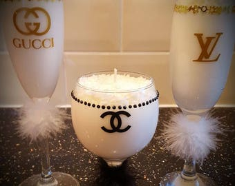Scented candle in a wine glass