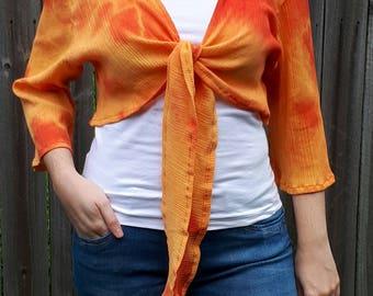 Shrug top, tie dyed top, funky top, jacket, belly dance top, orange crop top