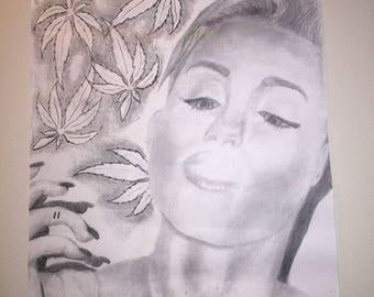 Miley Cyrus 420 Drawing  Print Copy