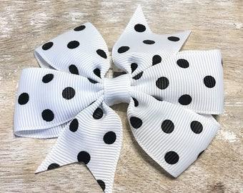 White and Black Polka Dot Grosgrain Ribbon Bow, Alligator Clip, Barrette, 3 inches wide, Hair bow, Girls