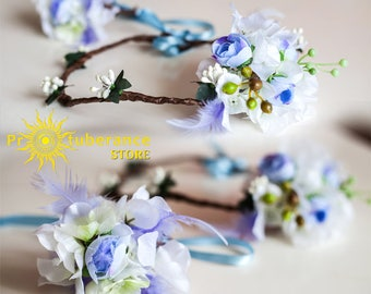 Flower wedding bracelet and crown with feathers. White and blue flower crown. Wedding flower crown. Bridal headpiece