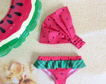 Set of Girls Bikini Swimsuit Bottom and and Sun Headscarf, Baby Swimsuit Bottom, Watermelon