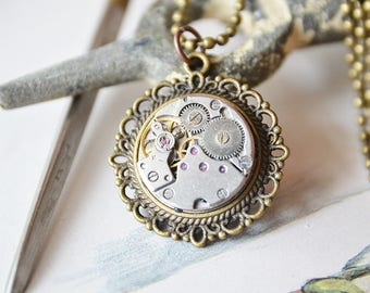 Steampunk Necklace, Steampunk Jewelry,  Steampunk Watch Necklace Bronze Color Pendant