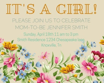 Its a girl Baby Shower invites