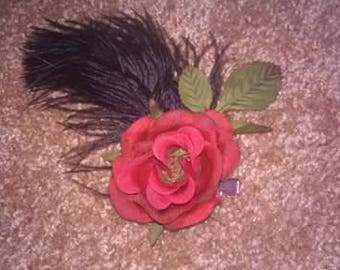 single rose and feather hair barrette
