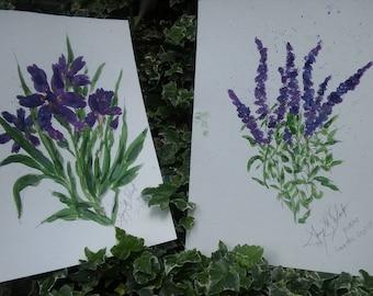 Iris and Lavender Print Pair