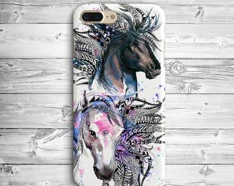 Two Horses iPhone 7 Plus Plastic Case iPhone 6 Black Horse Case iPhone 7 Unicorn Case iPhone SE Case Samsung Galaxy S7 Edge White Horse Case