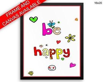 Be Happy Canvas Art Be Happy Printed Be Happy Nursery Art Be Happy Nursery Print Be Happy Framed Art Be Happy happiness