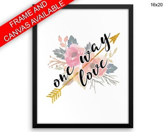 One Way Love Printed  Poster One Way Love Framed One Way Love Love Art One Way Love Love Print One Way Love Canvas One Way Love one way